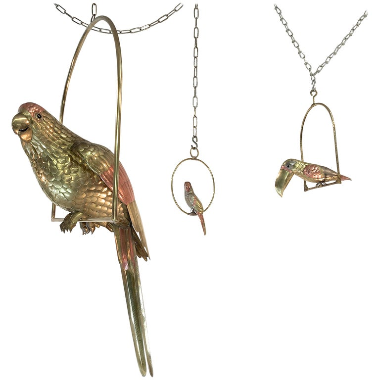 Sergio Bustamante Brass and Copper Tropical Birds on Swinging Perch For Sale