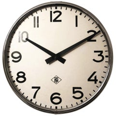 Large Industrial Factory or Stration Clock by Telefonbau Und Normalzeit