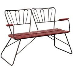 Midcentury Garden Steel Bench Settee