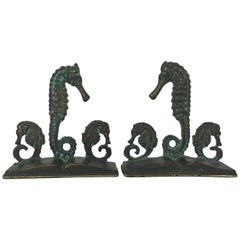 Pair of Bronze Seahorse Bookends by Virginia Metalcrafters