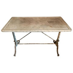 19th Century French Wrought Iron Garden Table with Original Marble Top