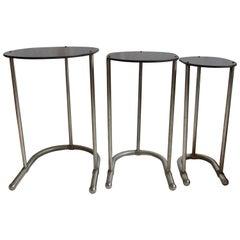 Warren McArthur Nest of Tables Stainless Steel Unique, 1934-1935