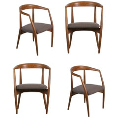 Lawrence Peabody for Richardson Nemschoff Solid Oak Armchairs, circa 1960s