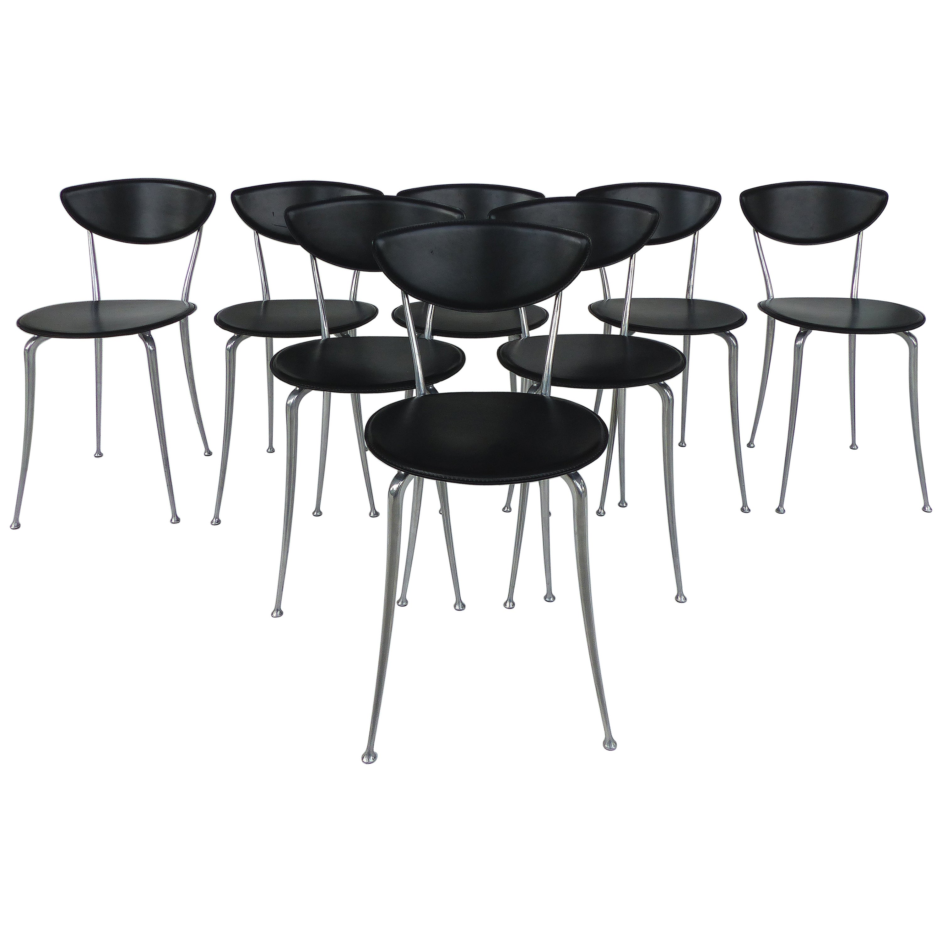 Set of 8 Arper Leather and Aluminum Dining Chairs, Italy