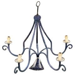 Vintage Regency Silk Navy Blue Minimal Chandelier, Five-Armed with Tassel, 1960s