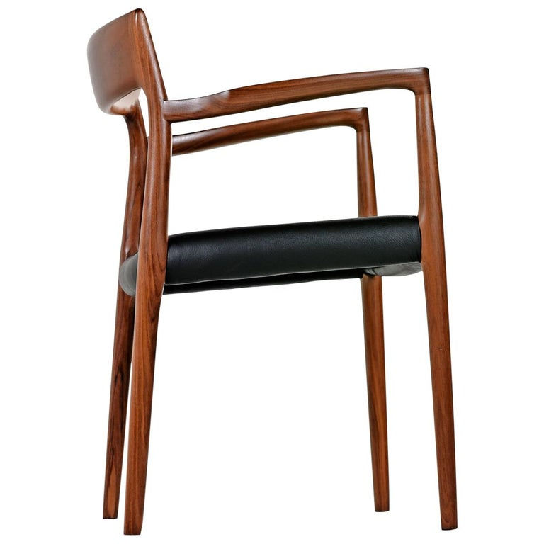 Niels Moller Walnut Armchair #57 Black Leather - Made in Denmark For Sale