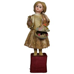 19th Century French Automaton by Lambert Bisque Jumeau Bebe Doll with Surprise