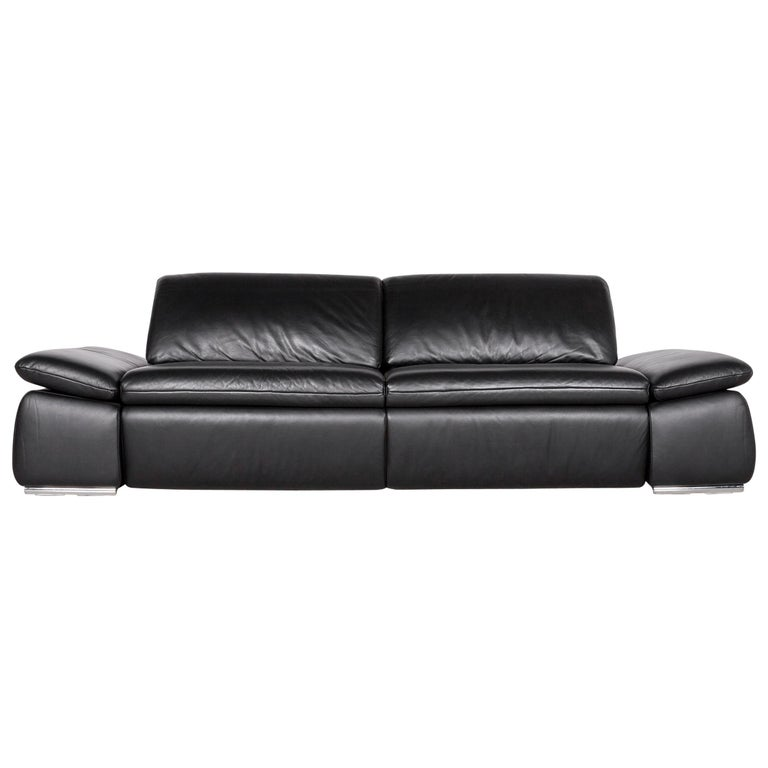 Koinor Evento Designer Sofa Brown Three-Seat Leather Couch Function Seatheating