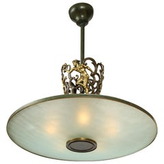 Swedish Grace Patinated Bronze and Frosted Glass Chandelier, circa 1920s