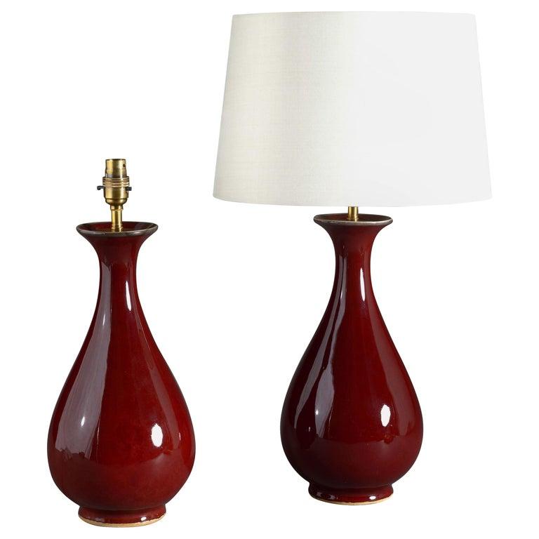 Pair of Sang De Boeuf Porcelain Vase Lamps