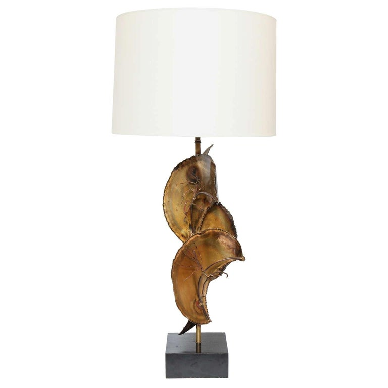 Brutalist Patinated Brass Table Lamp For Sale