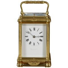 Gilded Engraved Carriage Clock by Margaine