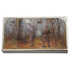 Victorian Silver & Enamel Pheasant Shooting Scene Vesta Case, London, 1882