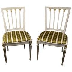 Gustavian Leksand Swedish Dining Chairs Pair in Gilt 20th Century