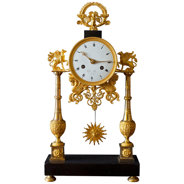 Directoire Black Marble and Ormolu French Pillar Clock