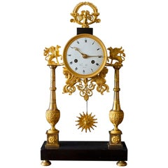 Directoire Black Marble and Ormolu French Pillar Clock