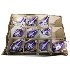 Ten Vintage German Lavender Mercury Glass Christmas Tree Ornaments