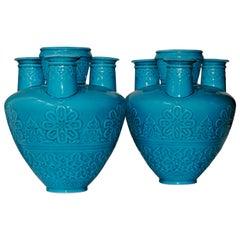 Pair of 19th Century Islamic Design Turquoise Blue Faience Tulip-Vases