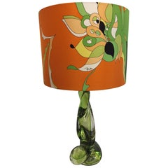Val Saint-Lambert Table Lamp Color Lime with Pucci Lamp Shade