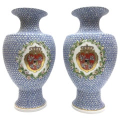 Big Old and Very Rare Meissen Porcelain Vases as a Pair in Snowball Decor