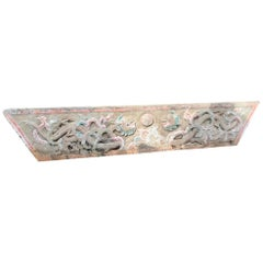 Antique Stone Mantle Double Dragon and Wish Granting Jewel, 18th-19th Century