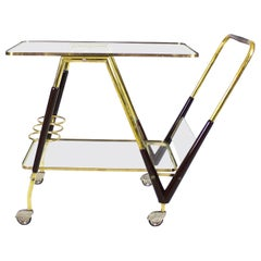 1950s Outstanding Bar Cart, Polished Brass and Solid Mahogany, Wheels, Italy
