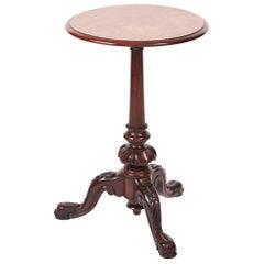 Quality Victorian Burr Walnut Lamp Table