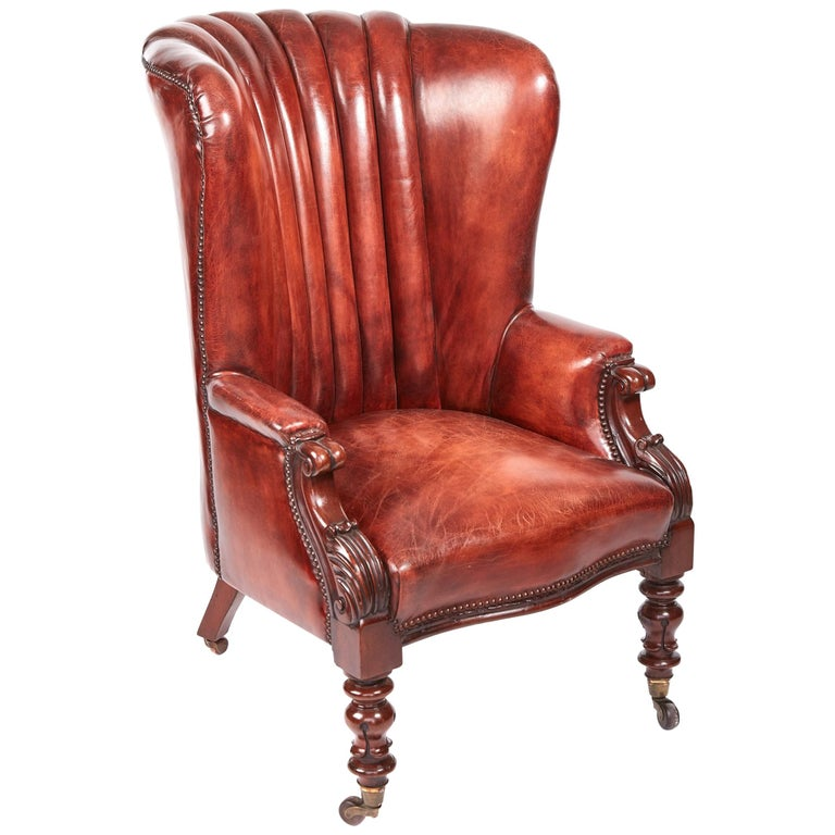 Quality William IV Leather Barrel Back Library Chair For Sale