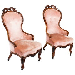 Antique Pair of Victorian Walnut Spoon Backed Armchairs, 19th Century