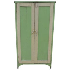 Vintage Painted Green Wardrobe Armoire
