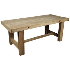 Rare French Farm Table with Two Plank Top, circa 1890