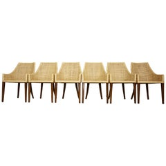 Rattan and Wooden Set of Six Dining Armchairs French Design