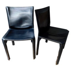Cassina Cab Chairs in Black Leather by Mario Bellini