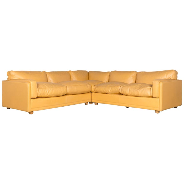 Poltrona Frau Designer Leather Corner Couch Sofa Yellow