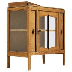 Art Deco Amstelhoek Bicolored Oak Wood Cabinet, 1920s