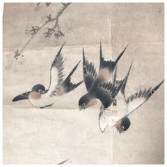 Four Playful Birds Japanese Antique Hand Painted Silk Scroll, Taisho Period