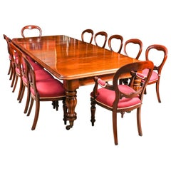 Antique Flame Mahogany Dining Table 19th Century & 12 Balloon Back Chairs