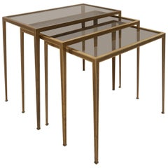 Set of Three Münchner Werkstätten Brass and Glass Nesting Tables