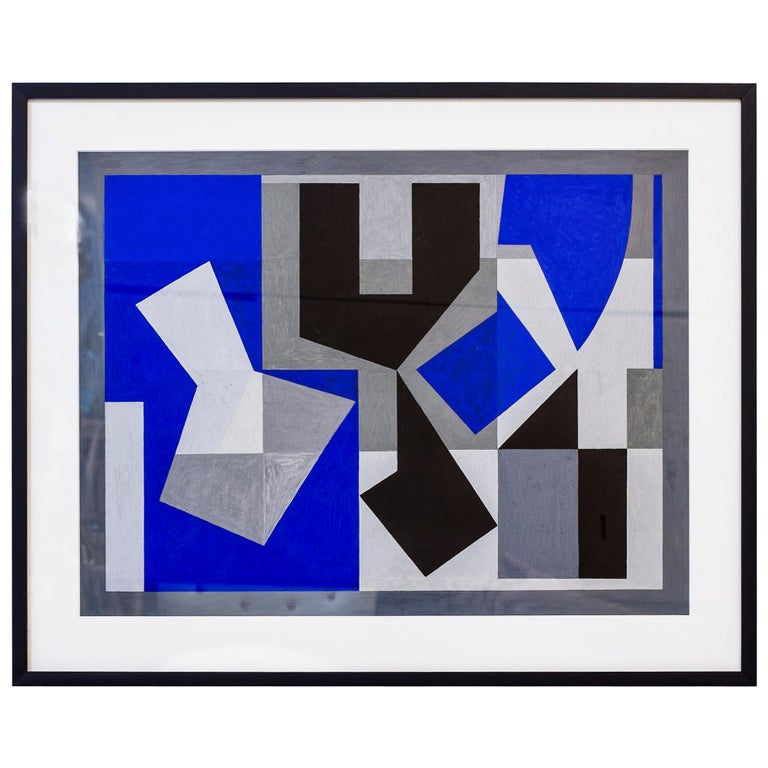 "Gouache Painting ""Blue"" by Tore Nyberg, Sweden, 1955"