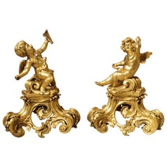 Pair of Antique Bronze Dore Cherub Chenets from France, 19th Century