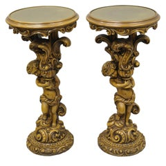 Pair of French Rococo Style Figural Cherub Angel Pedestal Plant Stands Table