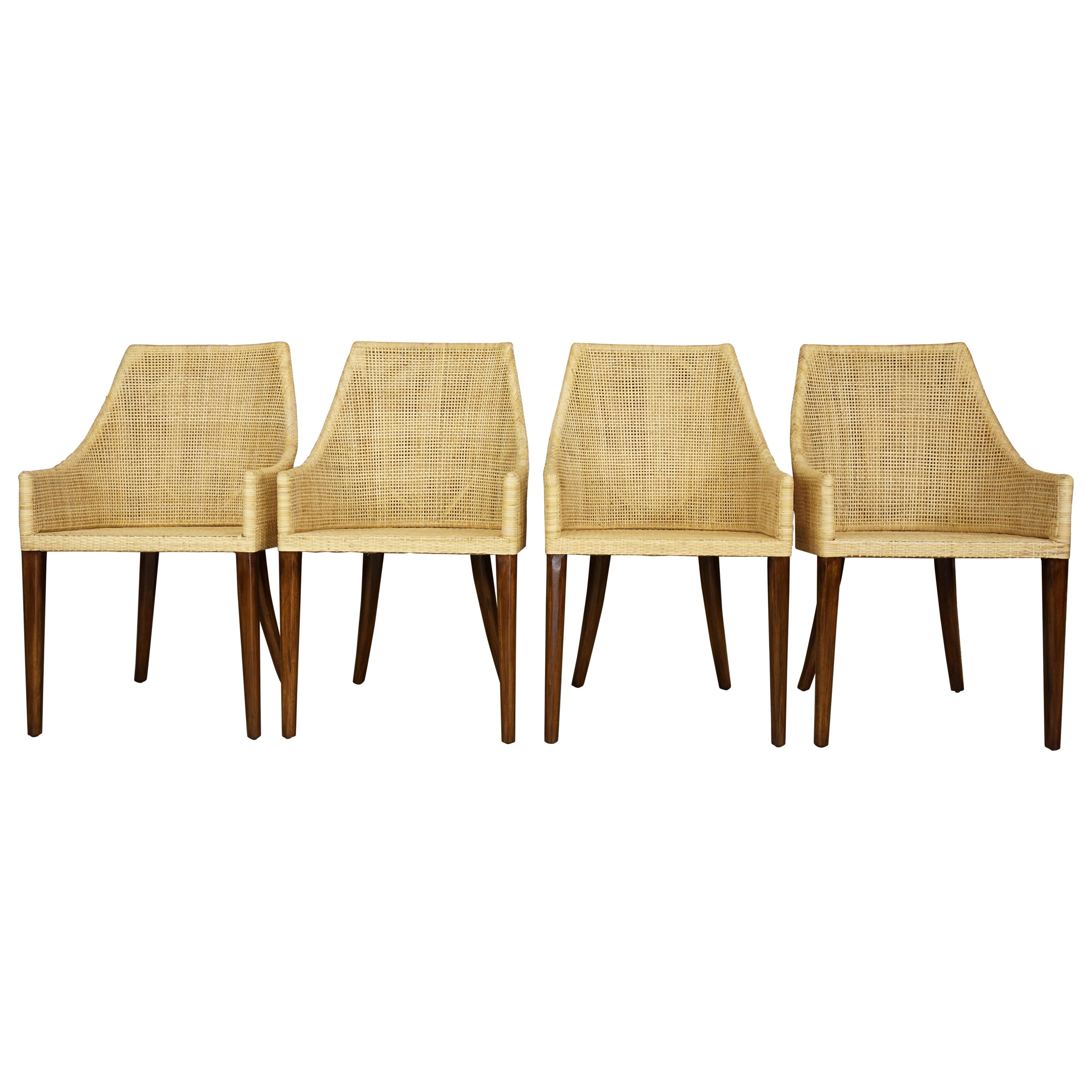 Rattan and Wooden Set of 4 Dining Armchairs French Design