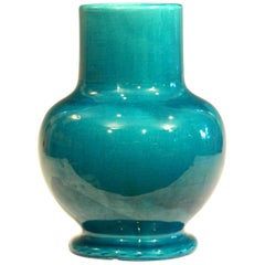 Awaji Pottery Blue Green Monochrome Art Nouveau Vase