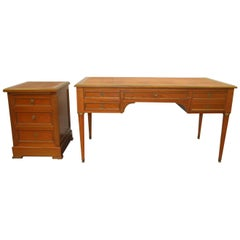 Louis XVI Style Mahogany Desk with Matching Cabinet Both with Leather Top