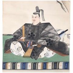 Ancient Scholar Tenjn Japanese Antique Hand Painted Silk Scroll Brilliant Colors