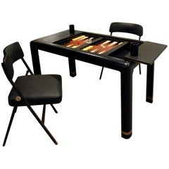 Karl Springer Backgammon Table with Folding Chairs in Ostrich, 1970s, 'Signed'
