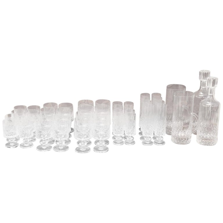 Italian Crystals Glasses Set with 40 Glasses, 2 Decanters and 2 Bottles
