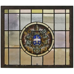 1910 Arts & Crafts Stained Leaded Glass Window with Ecclesiastical Motif