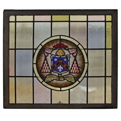 1910 Arts & Crafts Stained Leaded Glass Window with Fleur de Lis and Star Motif