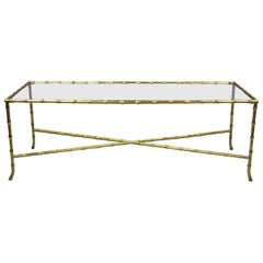 Maison Baguès French Bronze Glass Faux Bamboo Rectangular Coffee Cocktail Table